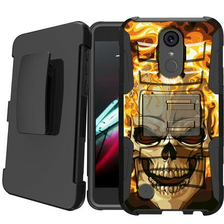 best loved beaf2 0064c LG Aristo | LG Rebel 2 | LG Phoenix 3 Holster Case [ Case for Boys][Cool  Phone Case Series]Built-In Kickstand + Bonus Holster - Fire Skull