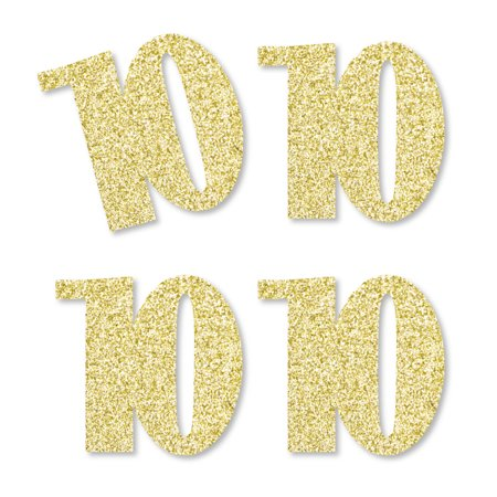 Gold Glitter 10 - No-Mess Real Gold Glitter Cut-Out Numbers - 10th Birthday Party Confetti - Set of 25
