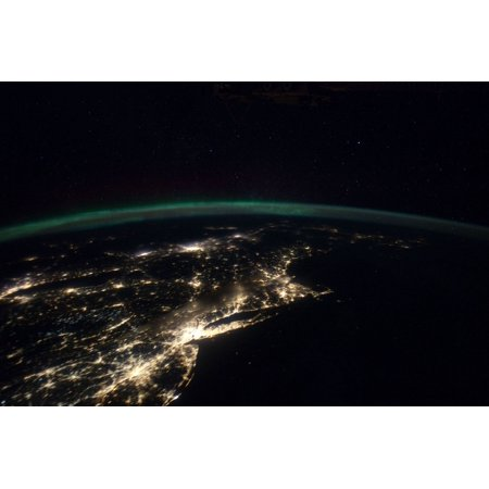 Night Lights From The Philadelphia-New York City-Boston Corridor At Left Is Western Lake Ontario Shoreline With Toronto  Montreal Is At Near Center The Atmospheric Limb And Light Activity From Aurora - Science Centre Toronto Halloween