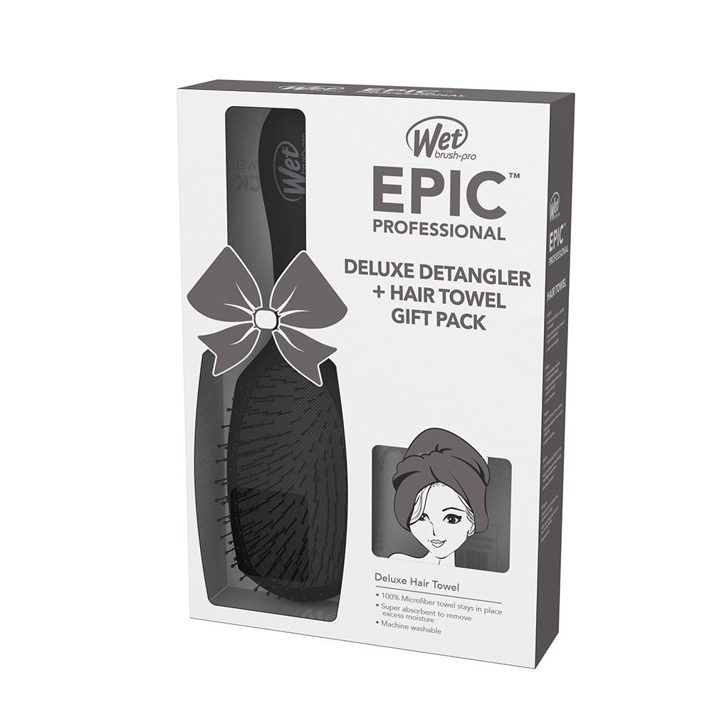 Wet Brush Epic Professional Deluxe Detangler and Hair Towel Gift Pack