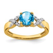 Primal Gold 14 Karat Yellow and White Gold Blue Topaz and Diamond Ring