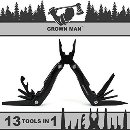 Grown Man™ Survivor Multi Tool - Black - Includes Pliers, Knife, Saw, and more - Best Multitool for Hunting & Camping - Survival Gear - Tactical (Best Place To Get Camping Gear)