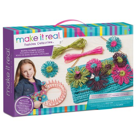 Make It Real Raffia Flower Clutch Weave Kit - Weaving Kits