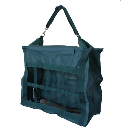 horse feed hay bag tote with dividers heavy duty canvas nylon hunter green ()