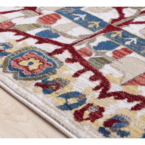 Charlton Home Arbouet Floral Rectangle Cream Red Area Rug Walmart Com