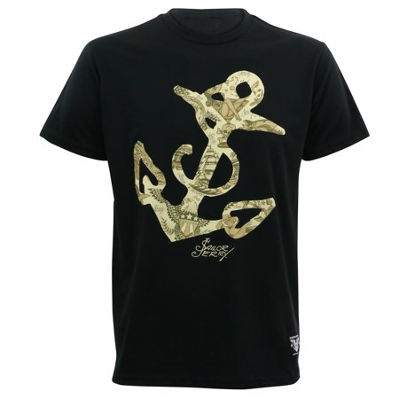 Sailor Jerry Tattoo Mens Flash Anchor Slim Fit T-Shirt Black S](Men Sailor)