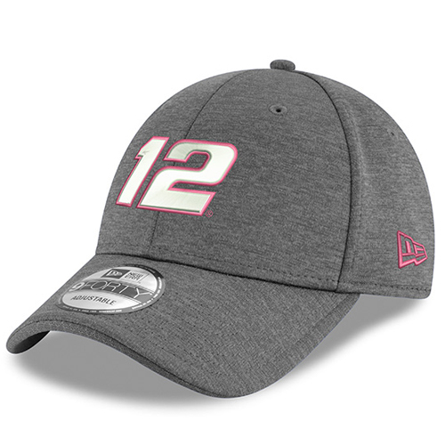 Ryan Blaney New Era Breast Cancer Awareness 9FORTY Adjustable Hat - Gray - OSFA