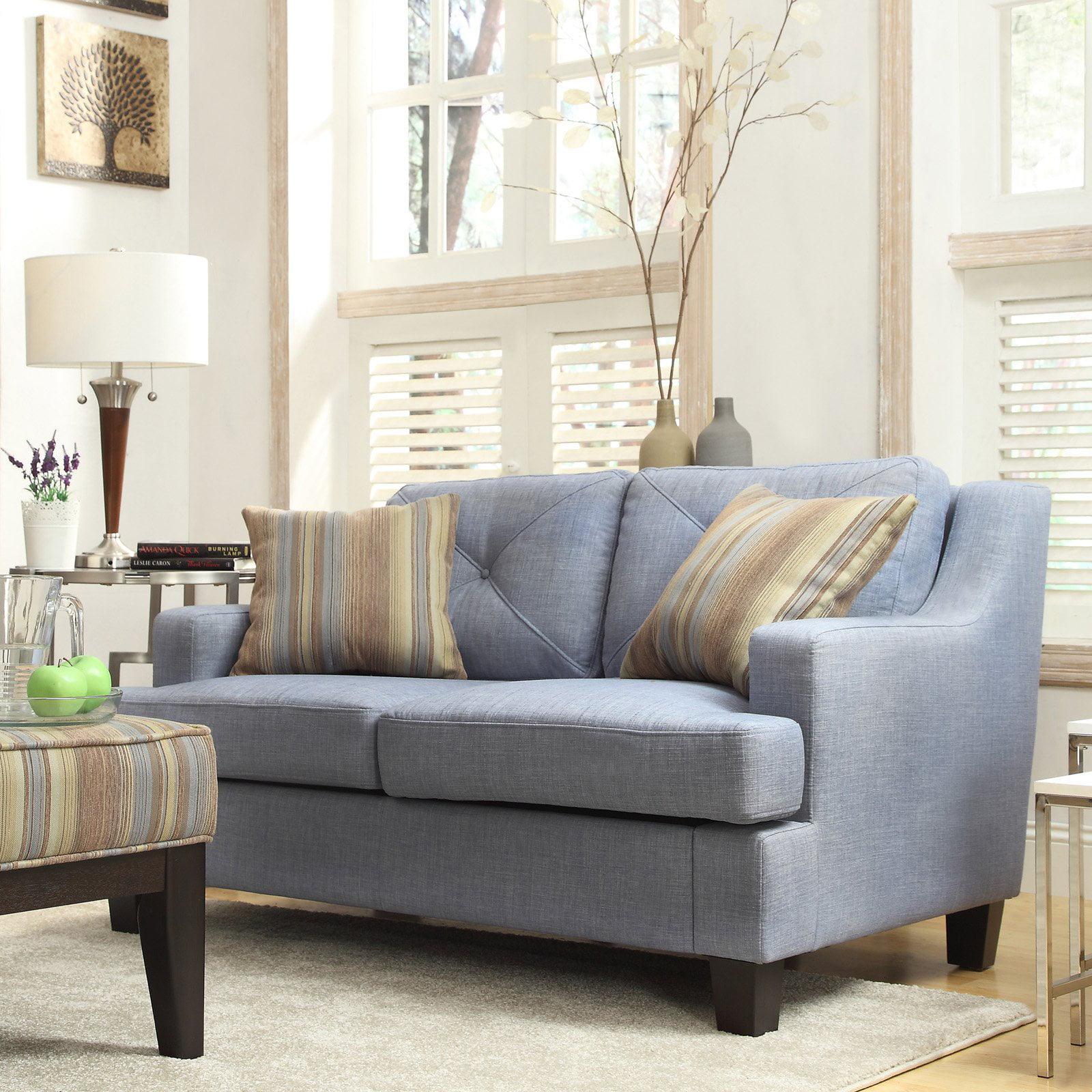 Chelsea Lane Upholstered Loveseat - Blue