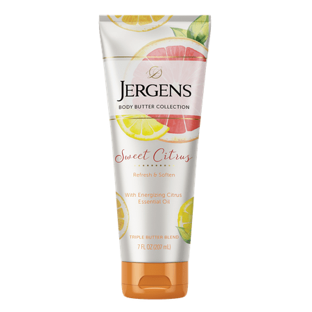 Jergens Sweet Citrus Body Butter with Essential Oils, 7 oz