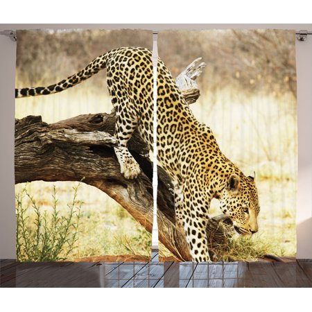 Safari Decor Curtains 2 Panels Set, Leopard On Tree Trunk Desert Plants Exotic Hunter Predator Big Cat Picture Print, Living Room Bedroom Accessories, Gift Ideas, By Ambesonne - Safari Ideas