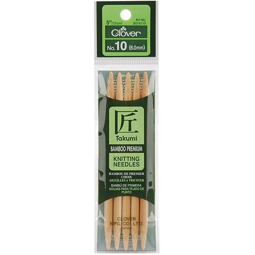 "Takumi Bamboo Double Point Knitting Needles 5"" 5/Pkg-Size 10/6mm"