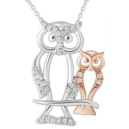Natural Diamond Owl Mom & Child Necklace