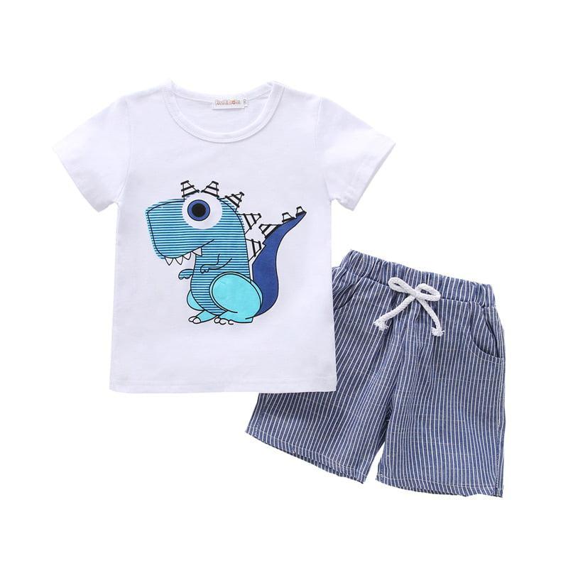 Details about  /2PCS Baby Boys Outfits Striped T Shirt Tops+Denim Pants Kids Spring Clothes Set