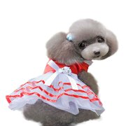 Puppy Small Dog Tutu Dress Bowknot Lace Skirt Pet Apparel Costume Clothes Red L