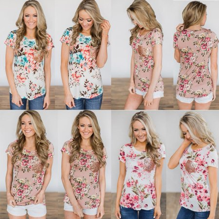New Womens Fashion Hot Sale Floral T-Shirt Ladies Loose Tops Blouse Shirts Plus (Top Hot Ladies)