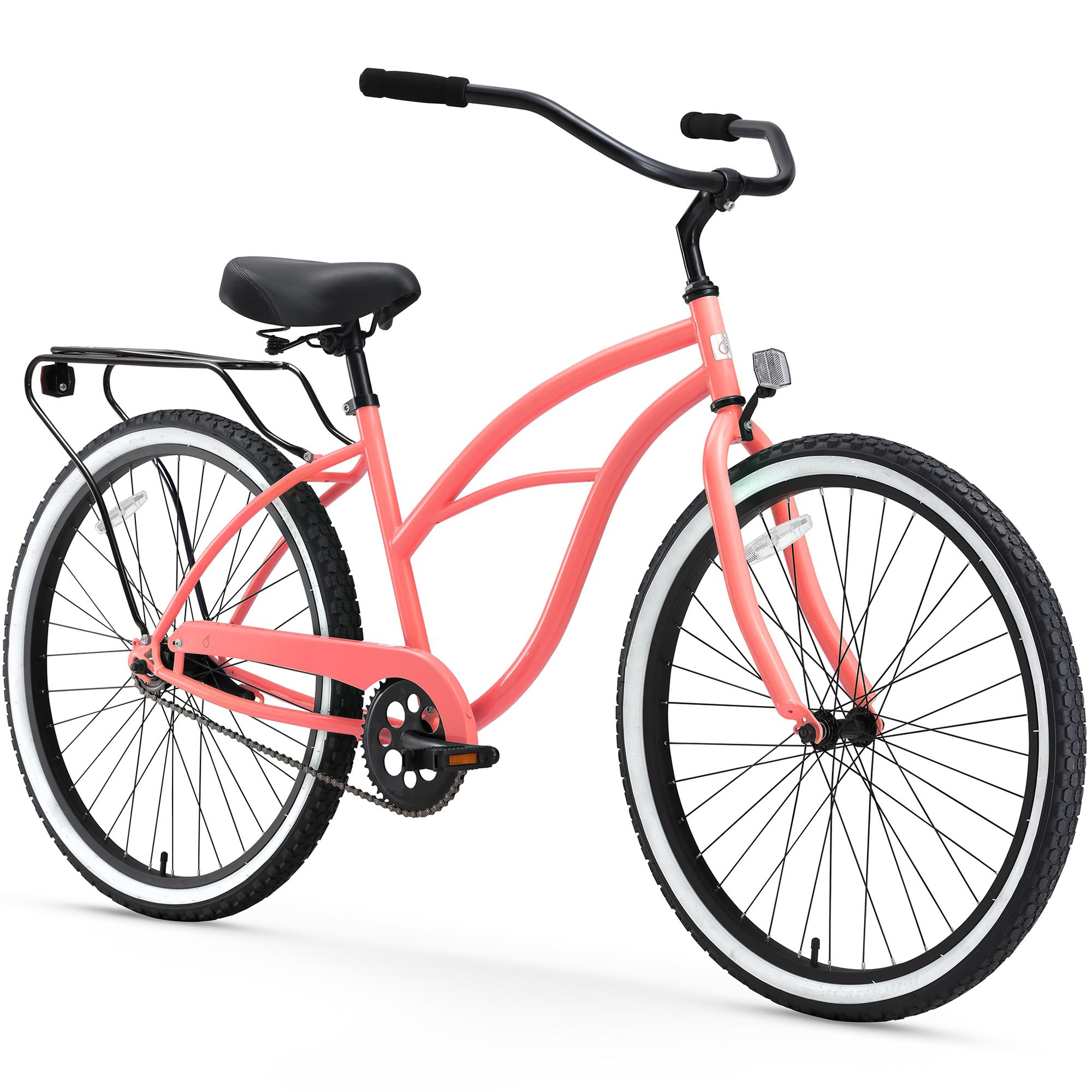 "26"" sixthreezero Women's Around the Block Single Speed Beach Cruiser Bicycle, Coral"