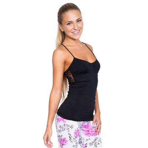 Junior Upper Back Floral Sheer Lace Camisole Top (One Size Fits All) - Black
