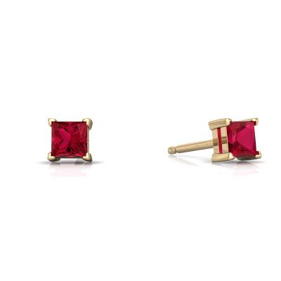 Lab Ruby Princess Cut Stud Earrings in 14K Yellow Gold