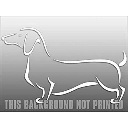Dachshund Dog Sticker (White Vinyl Fancy Abstract DACHSHUND Sticker Decal (dach dog window decal) Size: 5 x 8 inch)