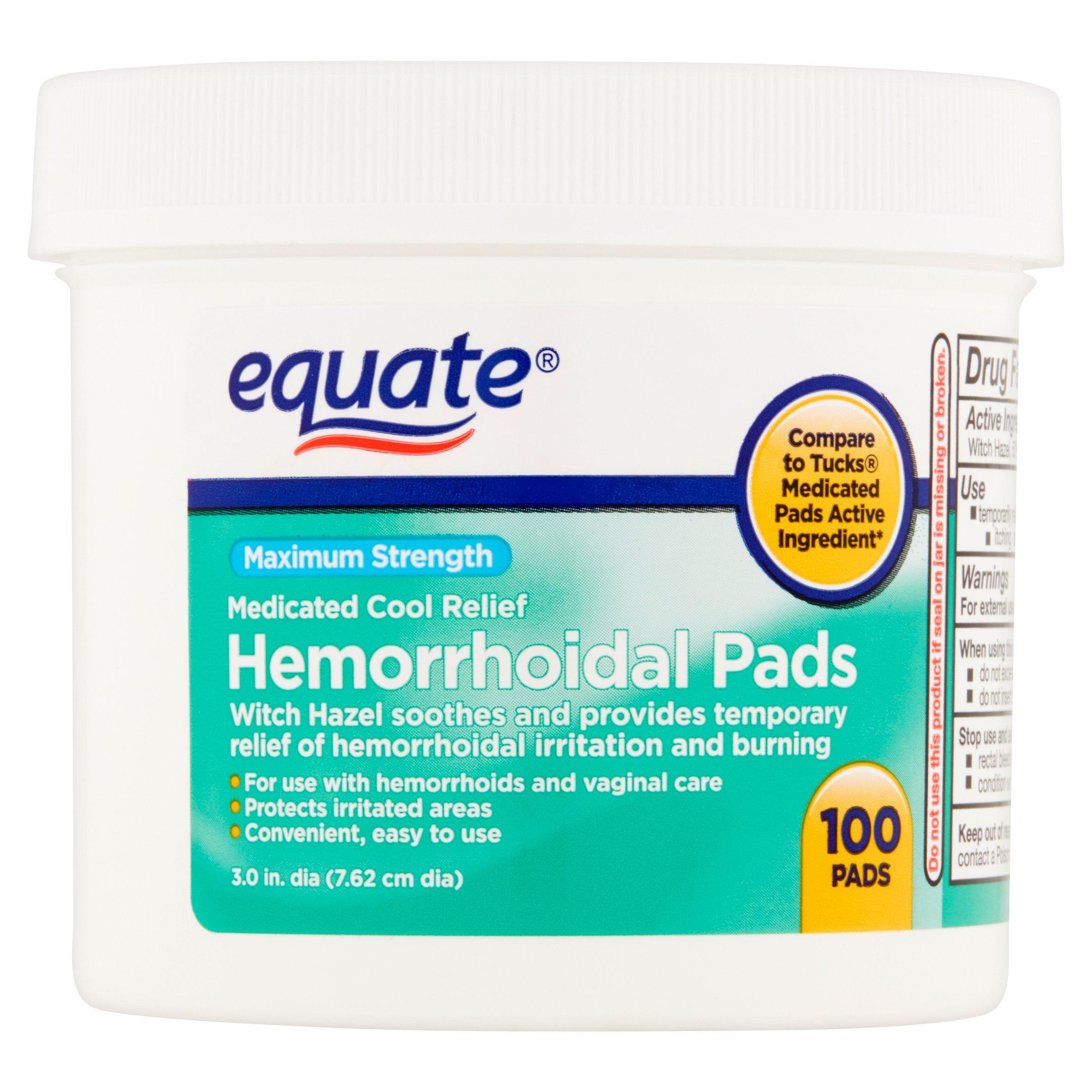 Equate Maximum Strength Hemorrhoidal Pads, 100 Ct