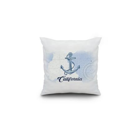 California Anchor Blue Coastal Icon Lantern Press Artwork 16x16 Spun P