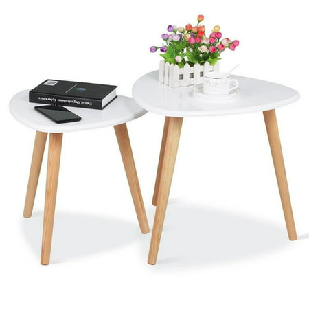 Modern White Coffee End Table Set Gloss Triangle Furniture Decor Side For Living Room Home And Office