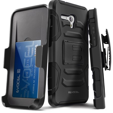 Alcatel Onetouch Fierce Xl Case  Evocel   Rugged Holster Dual Layer Case  Kickstand   Belt Swivel Clip  Hd Screen Protector For Alcatel Onetouch Fierce Xl  2015 Release   Black Evo Alfxl Ab01