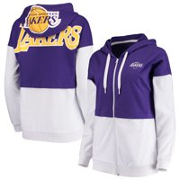Los Angeles Lakers G-III 4Her by Carl Banks Women's Game Changer French Terry Colorblock Full-Zip Hoodie - Purple/White