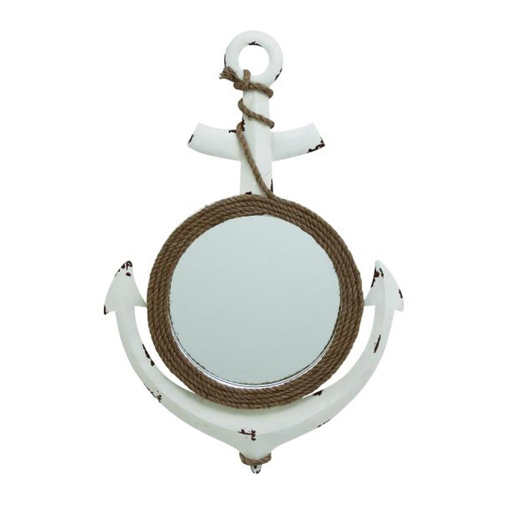 Charming Metal Wood Rope Wall Mirror