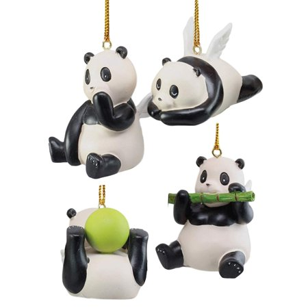 Ebros Winged Flying Pandas Hanging Ornament Set of 4 Resin Figurines As Whimsical Panda Bears For Holiday Season Trees Window Treatment Car Mirror Decorations Makes Lifetime Of (Four Seasons Tee)