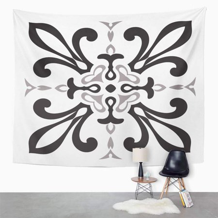 UFAEZU Hand Drawing for in Black and White Colors Italian Majolica Style The Best Wall Art Hanging Tapestry Home Decor for Living Room Bedroom Dorm 51x60 (The Best Dorm Rooms)