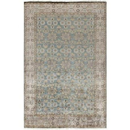 4 X 6 Justinian Garden Misty Yellow  Granite Gray And Ocean Blue Area Throw Rug
