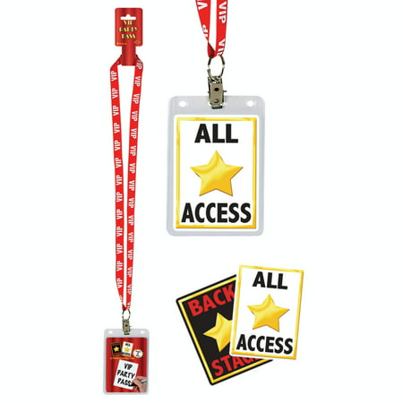 Pack of 12 Hollywood Theme Movie-Night VIP Party Pass Lanyards with Card Holders - Hollywood Themed Events
