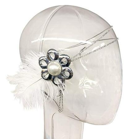 1920s Flapper Headband 20s Great Gatsby Headpiece White Feather Headband With Rhinestone and Pearls (20s Feather Headband)