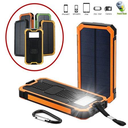 Usb Battery Charger Usb - Waterproof Portable 300,000mAh Solar Power Bank Battery Solar Charger Dual USB Port LED Flashlight + Carabiner + USB Cable