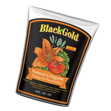 SunGro Black Gold 2 Cu Ft Natural & Organic Potting Soil + Fertilizer | SUGRBG2 (Black Gold Soil 2 Cubic Feet)