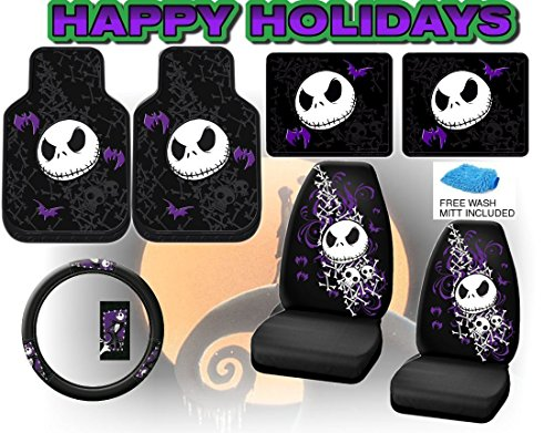 LavoHome Nightmare Before Christmas Full Auto Interior Gift Set Front & Rear Floor Mats Seat Covers & Steering Wheel... by LavoHome