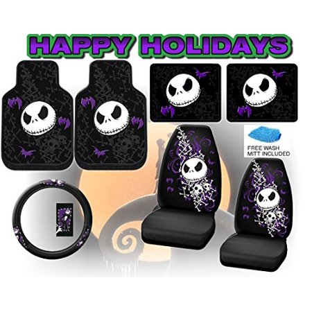 lavohome nightmare before christmas full auto interior gift set front rear floor mats seat covers - Nightmare Before Christmas Steering Wheel Cover