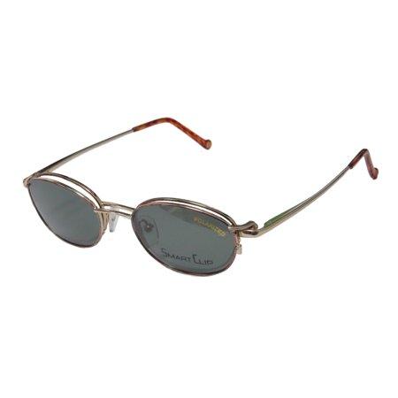 New Smartclip 289 Mens/Womens Designer Half-Rim Rose / Gold Budget With Polarized Clip-on Lenses Frame Demo Lenses 47-20-140 Sunglass Lens Clip-Ons Flexible Hinges (Budget Sunglasses)