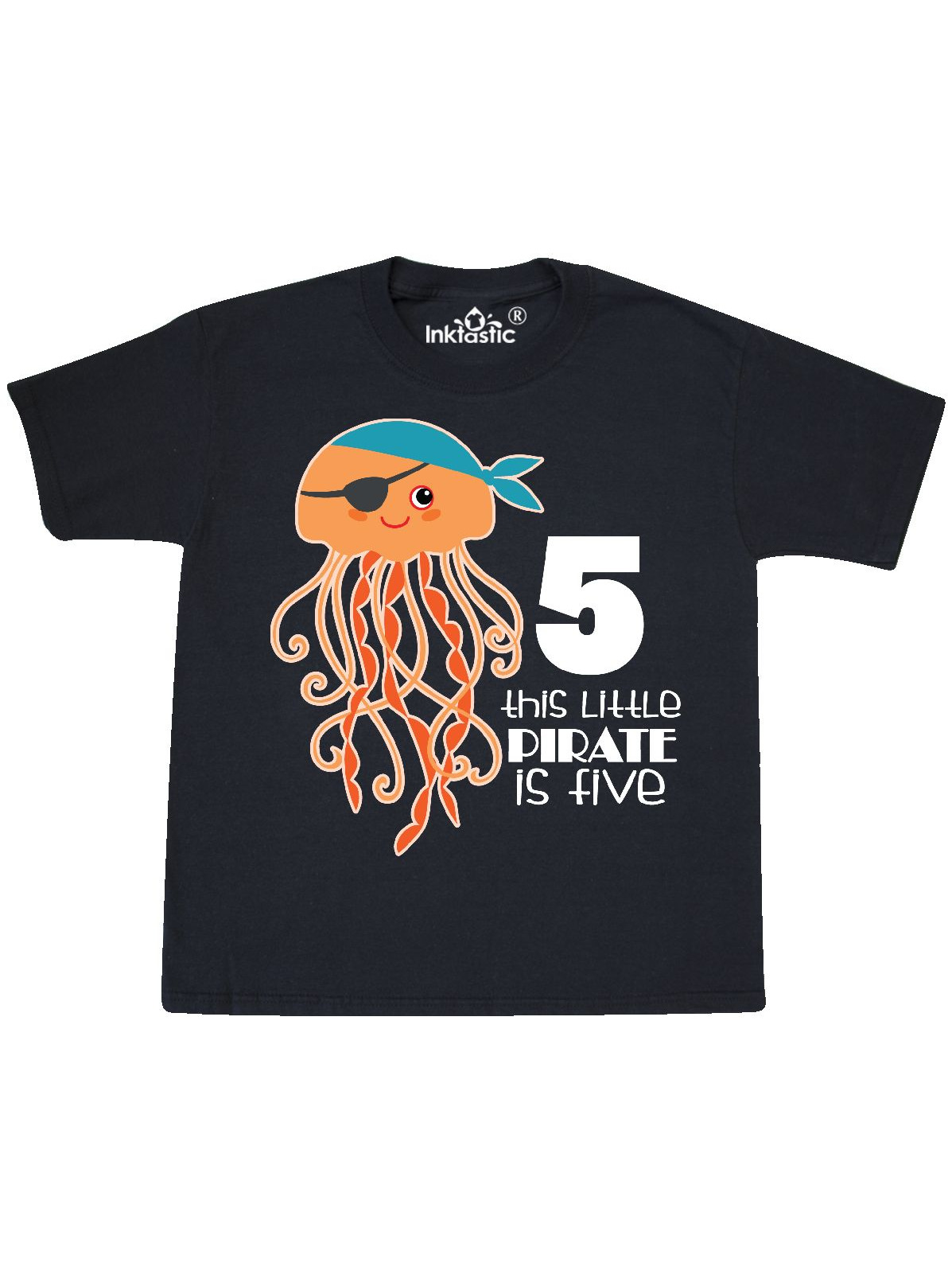 5th Birthday Kids Pirate Jelly Fish Youth T-Shirt