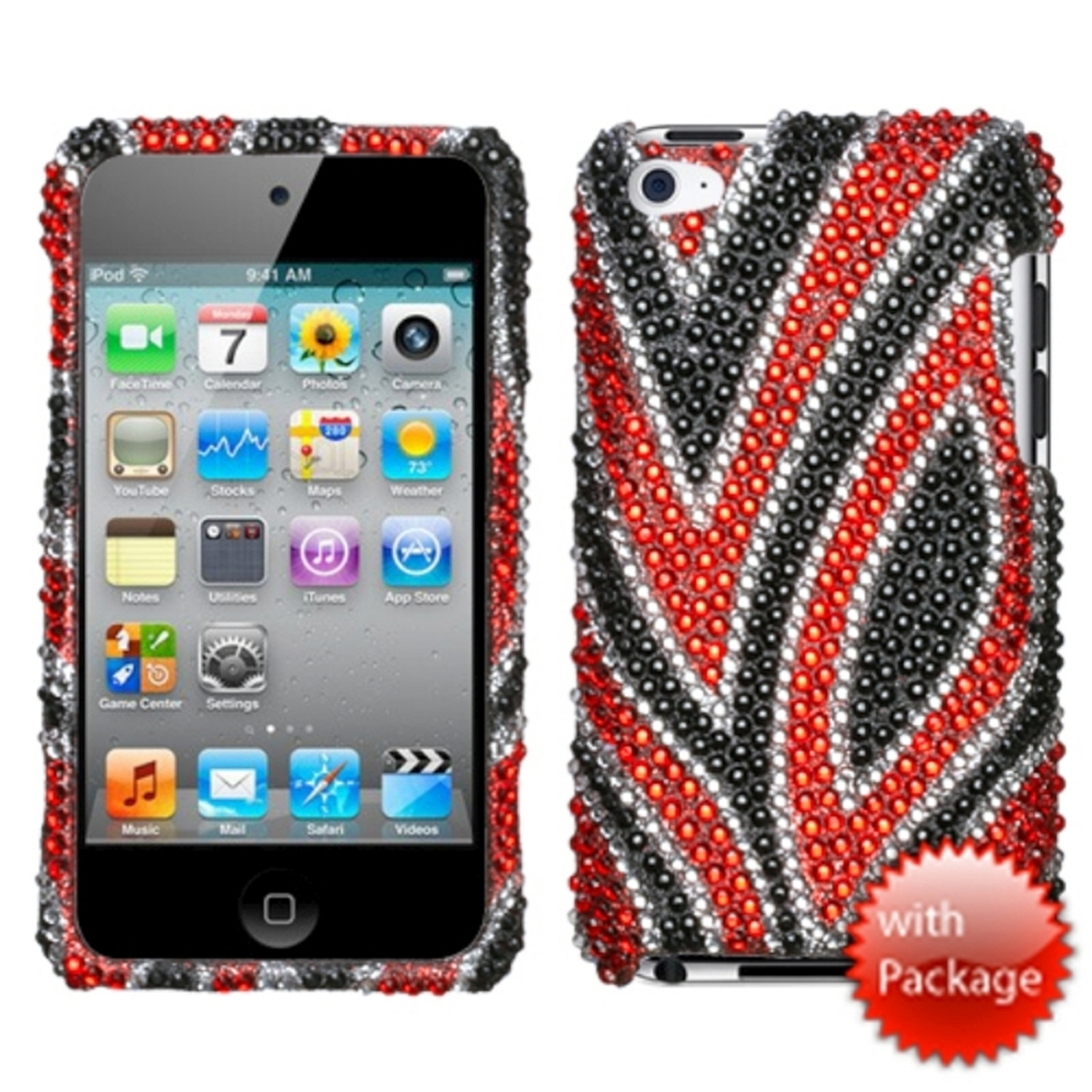 Insten Jungle Fever Premium Diamante (with Package) Case For iPod Touch 4