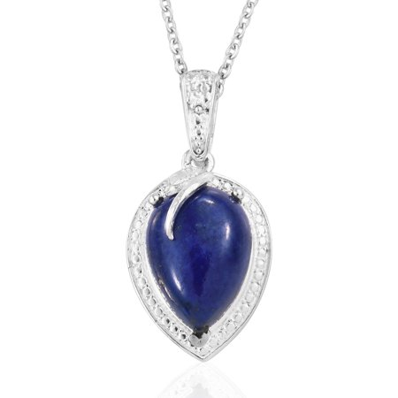 Solitaire Chain Pendant Necklace Blue Lapis Lazuli Gemstone Birthstone 925 Sterling Silver Stainless Steel for Women Jewelry Gift 20''