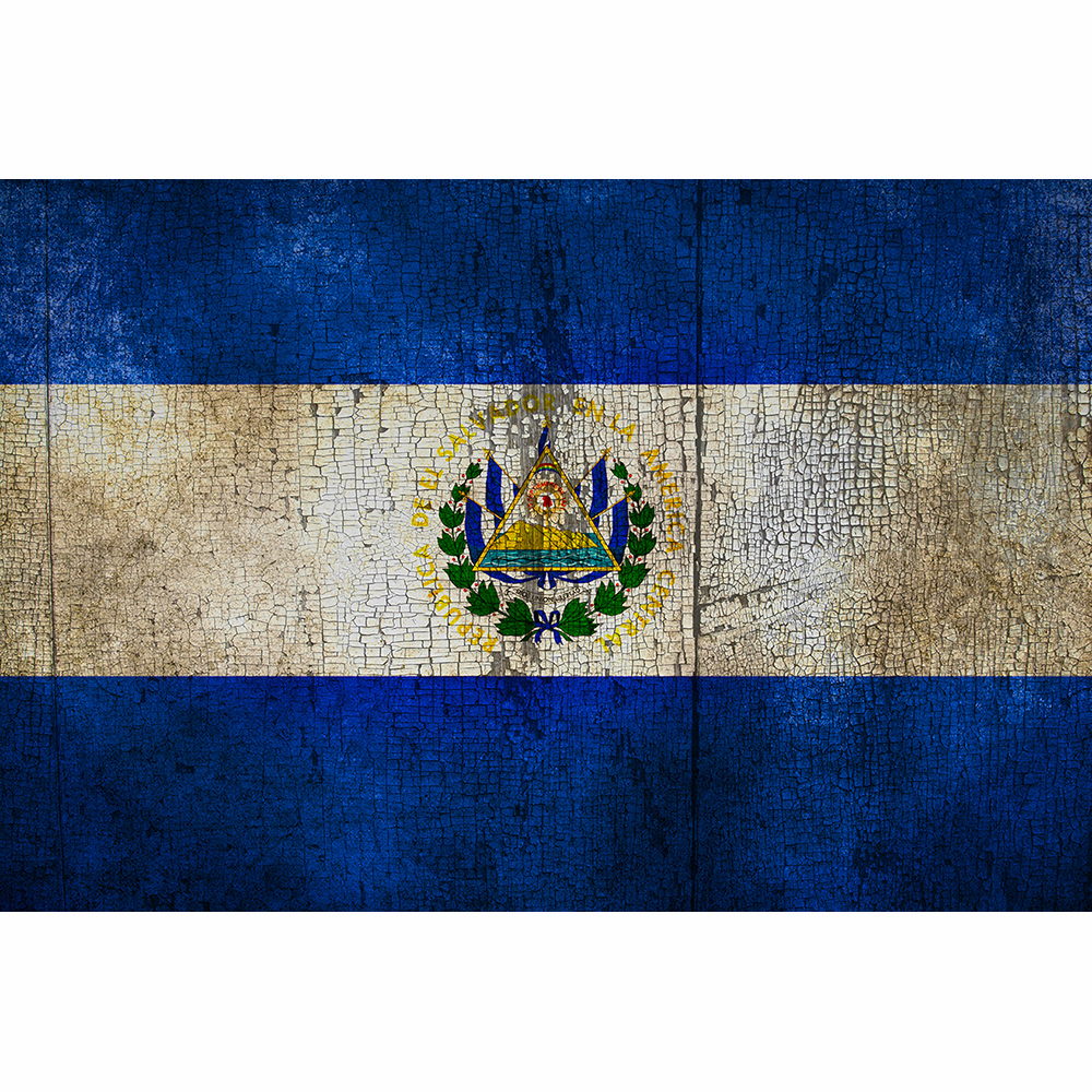 "El Salvador- 18"" x 12"" Distressed Country Flag Wall Decal"