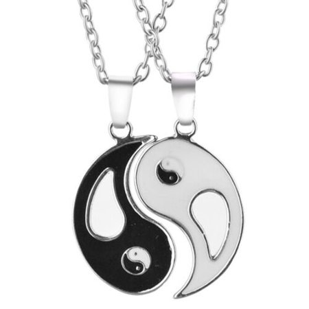 TURNTABLE LAB 1 Pair Yin Yang Black White Taiji Pendant Necklace Jewelry Friends Lover Nice