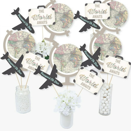World Awaits - Travel Themed Party Centerpiece Sticks - Table Toppers - Set of 15