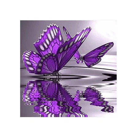 outdoorline 5D Diy Crystal Diamond Painting Purple Butterfly On The Water Round Rhinestone Handcraft Cross Stitch Room Decoration - image 7 of 9