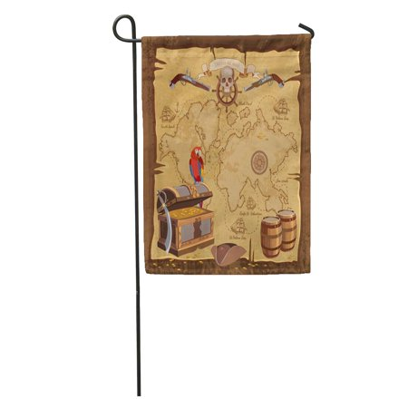 SIDONKU Game Old Pirate Treasure Map Chest Parrot Skull Rum Saber Hat and Ship Adventure Stories Sea Garden Flag Decorative Flag House Banner 28x40 inch](Pirate Treasure Map Game)
