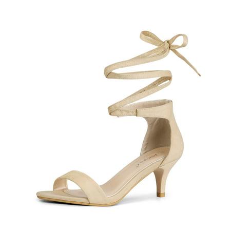 Unique Bargains Women's Kitten Heel Open Toe Lace Up Dress Sandals