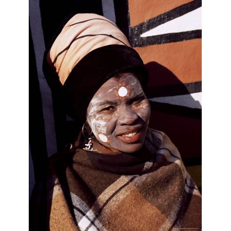 Buy Halloween Decorations South Africa (Portrait of a Woman with Facial Decoration, Cultural Village, Johannesburg, South Africa, Africa Print Wall Art By Sergio)