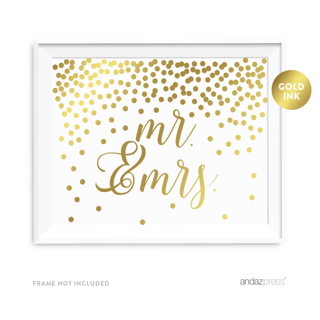 Metallic Gold Confetti Polka Dots 8.5x11-inch Party Sign, Mr. & Mrs., Unframed